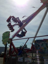 The Fire Ball ride at the Ohio State Fair, shown Wednesday