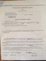 This is a copy of a search warrant executed Friday