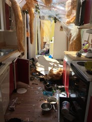 Inside the Justice family's kitchen after the tornado.