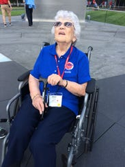 Anne Fritsch, 90, of Wauwatosa, looks up at the three