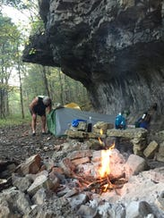 A small campfire provided warmth when the temperature dipped at Hercules Glades Wilderness Area.