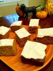 An easy frosted pumpkin cake is a great dessert for