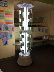 The towering hydroponic garden structure provides a