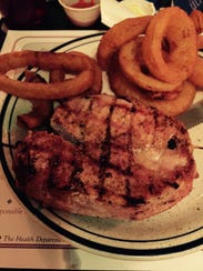 TC's pork loin comes bacon-wrapped and is juicy even