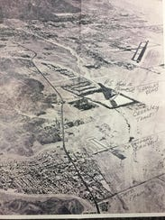 This undated photograph shows an aerial view of the