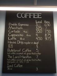 The coffee menu at Kona Espresso Bar
