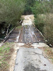 This bridge over a creek on hole No. 6 is one of three