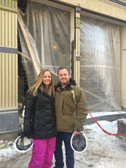 Bridget and Jeremy Lieb in front of their restaurant Sacred Beast, under construction.