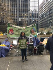 FSU student Maria Barrientos was one of dozens of protesters in New York City during the week of March 12, 2018, braving the cold to pressure Wendy's to join the Fair Food Program by the Coalition of Immokalee Workers.