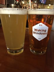 A hazy East Coast style IPA on the left and a clear