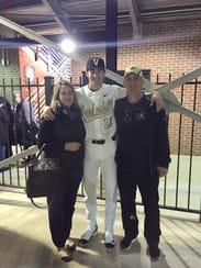 Vanderbilt shortstop Connor Kaiser with mother Janna