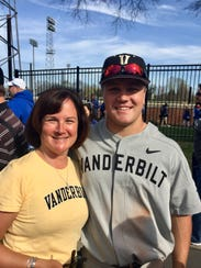 Vanderbilt catcher Stephen Scott with mother Dawnette.