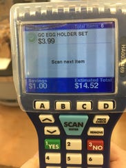 Hand-held scanners for customers are being used at