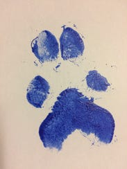 A paw print of the 5-month-old labradoodle known as