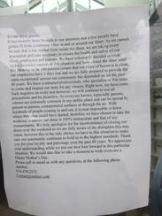 Owners of Mamaroneck Diner and Pizza posted a letter