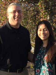 Student Alanna Ortiz, left, with mentor Paul Seyfert.