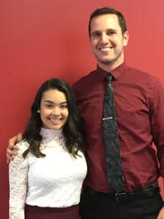 Senior Ilyana Correa, left, with Mentor Mark Naimoli.