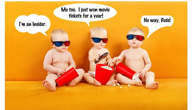 Babies promoting Free Marcus Movie Theatre tickets for a year