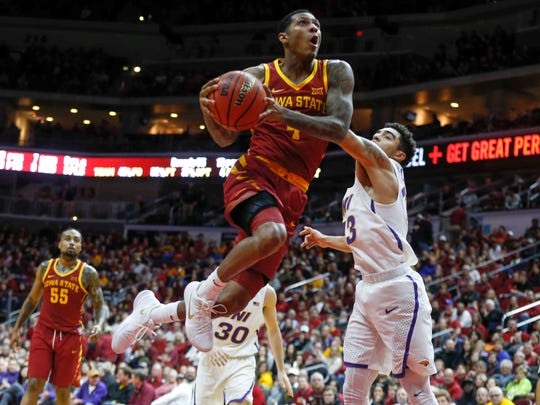 Iowa State senior guard Donovan Jackson drives the lane against Northern Iowa at Wells Fargo Arena in Des Moines on Saturday, Dec. 16, 2017.