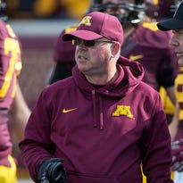 Oct 18, 2014; Minneapolis, MN, USA; Minnesota Golden Gophers head coach Jerry Kill looks on during the first half against the Purdue Boilermakers at TCF Bank Stadium. Mandatory Credit: Jesse Johnson-USA TODAY Sports