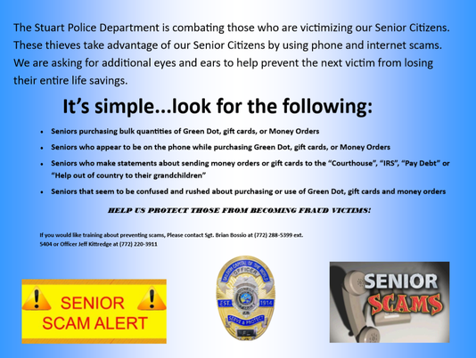 A flyer Stuart Police Department is distributing to local stores to help decrease scams in Martin County.