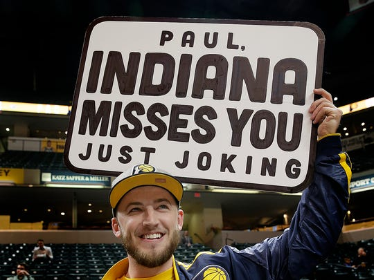 Indiana Pacers fan Connor O'Malia welcomes back former
