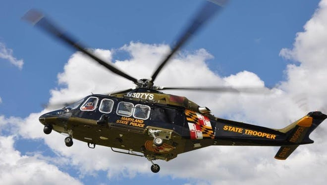 A 48-year-old man was rescued by helicopter after falling from a rugged area of a Maryland hiking trail into a crevice 30 feet below, according to Maryland State Police.