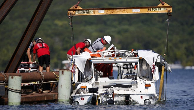 In this July 23, 2018, file photo the duck boat that sank on July 19 in Table Rock Lake in Branson, Mo., is raised.