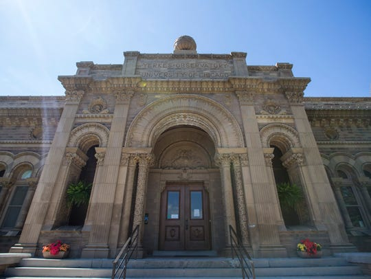 The main entrance of the Yerkes Observatory. The observatory