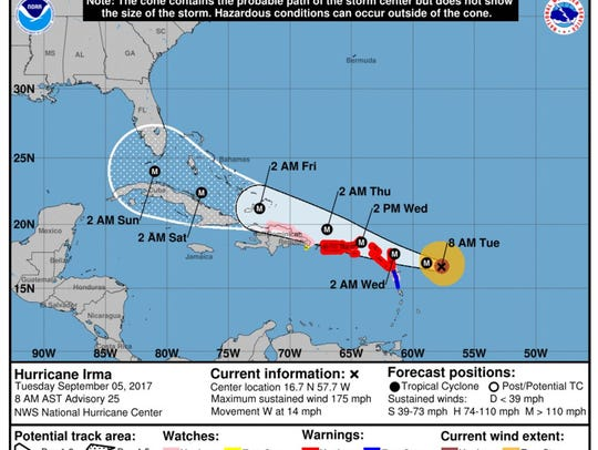 The projected path of Hurricane Irma as of 8 a.m. on