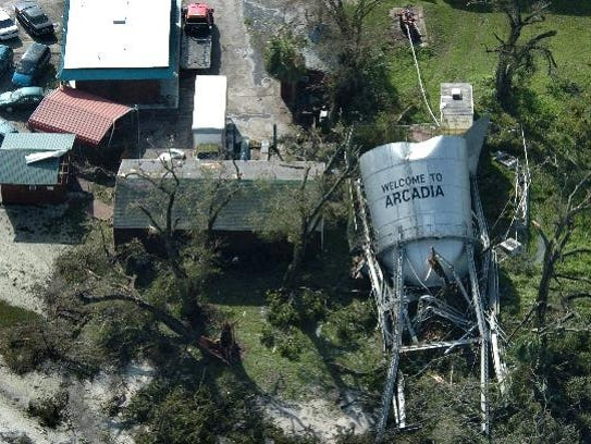 The water tower in Arcadia  is shown Aug. 14, 2004,