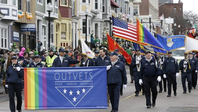 OutVets, a group of gay military veterans, march in a St. Patrick's Day parade in Boston in March 2015.