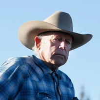 "Cliven Bundy rides a horse after attending the funeral of of fellow rancher Robert ""LaVoy"" Finicum on Feb. 5, 2016 in Kanab, Utah. Finicum who was part of the Burns, Oregon standoff with federal officials was shot and killed by FBI agents when they tried to detain him at a traffic stop."
