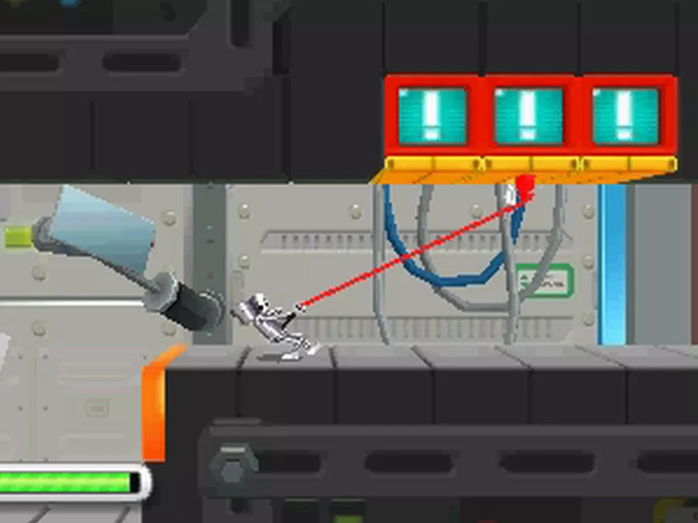 "Use your cord to latch onto grapple points and attacks foes in ""Chibi Robo! Zip Lash"" on the 3DS."
