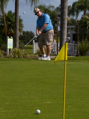 Joe Marks, of Cape Coral, practices at the Royal Tee