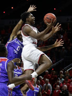 UL guard Frank Bartley drives to the basket during the first half of UL's game win over Louisiana Tech on Saturday night.