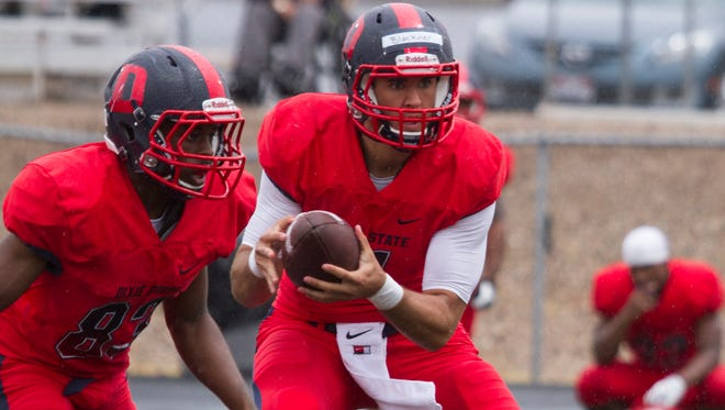 Dixie State played its annual spring game Saturday at Hansen Stadium. The defense recovered three fumbles and Blake Barney and Joshua Mathis each scored a touchdown.
