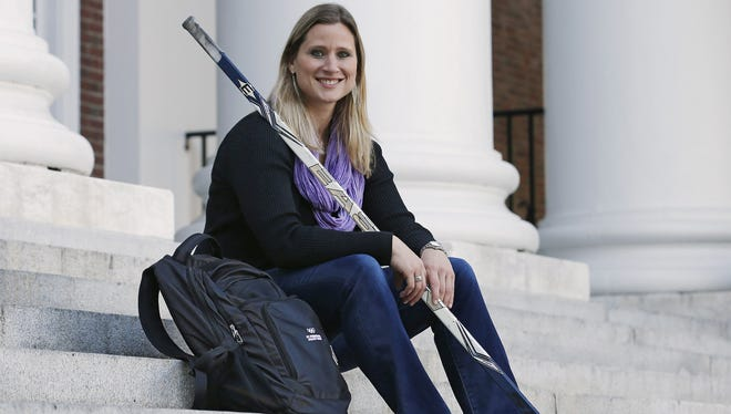 Angela Ruggiero, a four-time Olympic medalist in ice hockey and an IOC  member, is seen at the Harvard Business School where she is a graduate student.