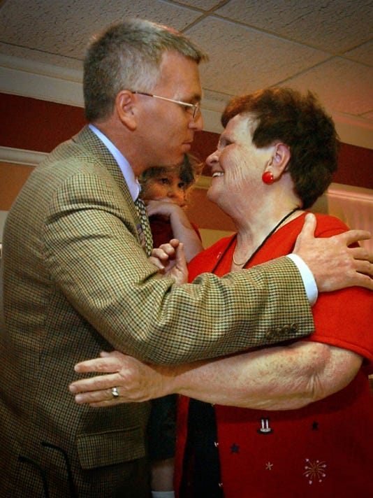 DAILY RECORD/SUNDAY NEWS - FILE  Todd Platts hugs his mother, Babs, on election night in this 2002 photo.
