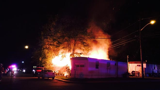 A mobile home was destroyed and two were damaged during a fire in South Brunswick Wednesday night.