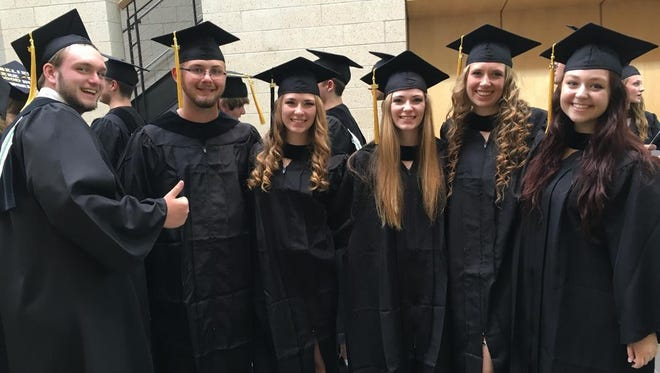The Groton seniors who are also Tompkins Cortland Community College graduates are, from left, Sam Yager, Austin Vyskocil, Jenna Federation, Tess Federation, Emily Hess and Emily Richards.
