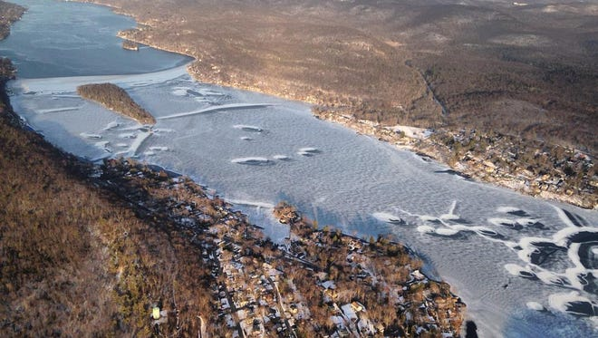 Without a full freeze on Greenwood Lake, as seen in this 2016 photo, a stump grinding project proposed for the 2016-17 lake drawdown had to be put on pause.
