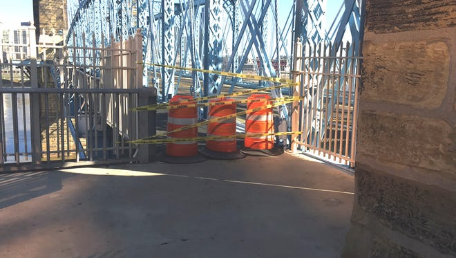 The Roebling Suspension Bridge was closed Tuesday after an accident.