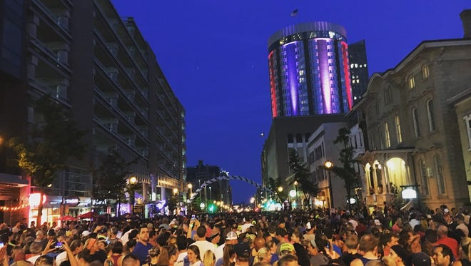"""Runners line up to """"storm the Bastille"""" Thursday, July 12, 2018."""