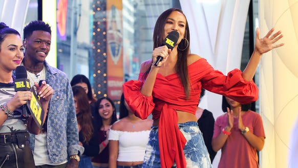 Model Joan Smalls appears on the premiere week of 'TRL.'
