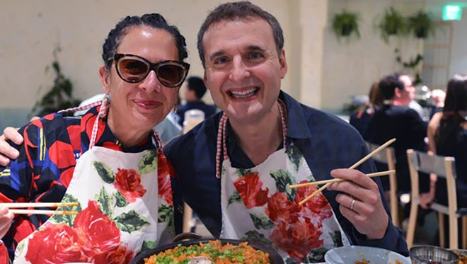 Chef Nancy Silverton, left, and host Phil Rosenthal sample Italian cuisine in 'I'll Have What Phil's Having.'