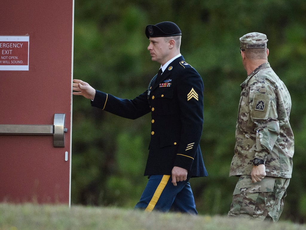 Army Sgt. Bowe Bergdahl arrives at the Fort Bragg courtroom facility for a sentencing hearing on Oct. 31, 2017, on Fort Bragg, N.C. Bergdahl, who walked off his base in Afghanistan in 2009 and was held by the Taliban for five years, pleaded guilty to