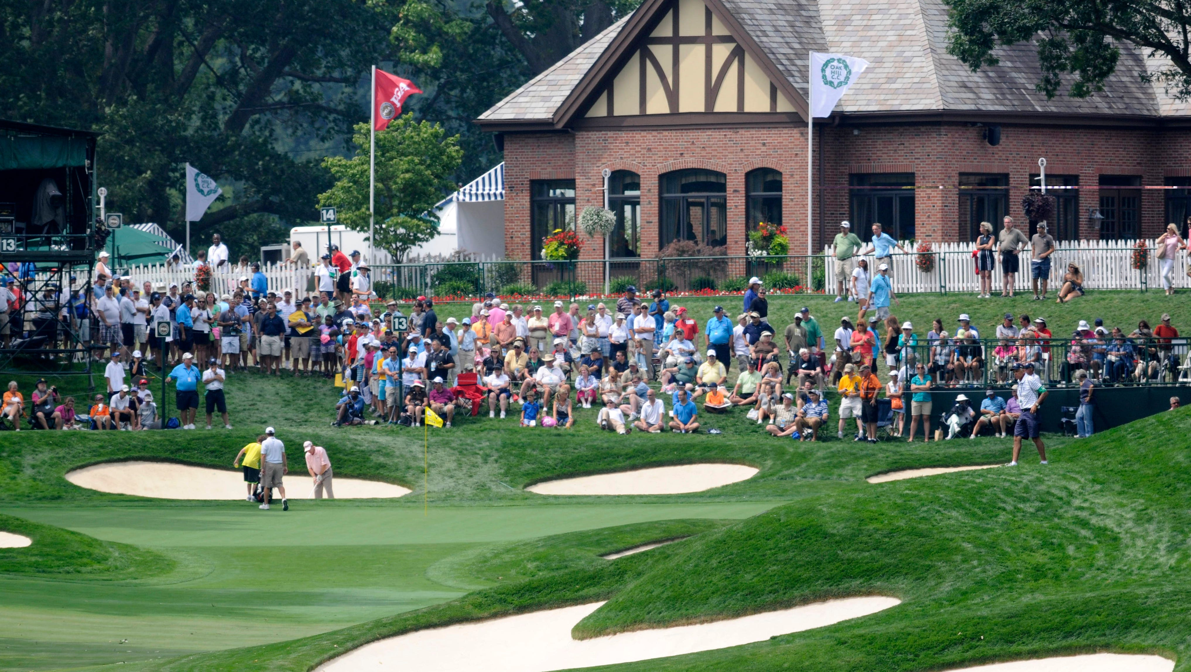 An overall view of the 13th green at Oak Hill Country Club.