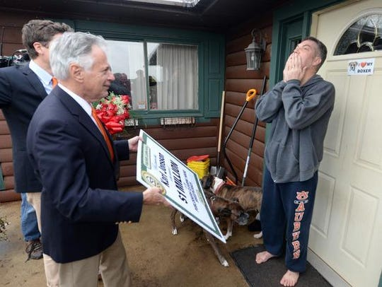 Karl Jonsson of Gresham, right, reacts as Dave Sayer