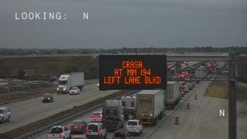 A crash on I-95 north of Viera Blvd on Friday evening is blocking the northbound left lane and causing traffic delays.